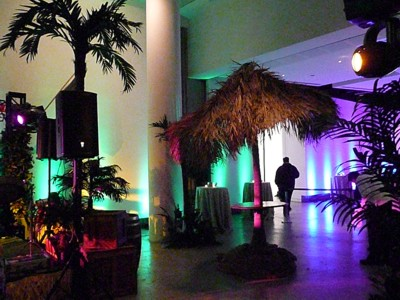 parrot head party decorations and props with palapa bar